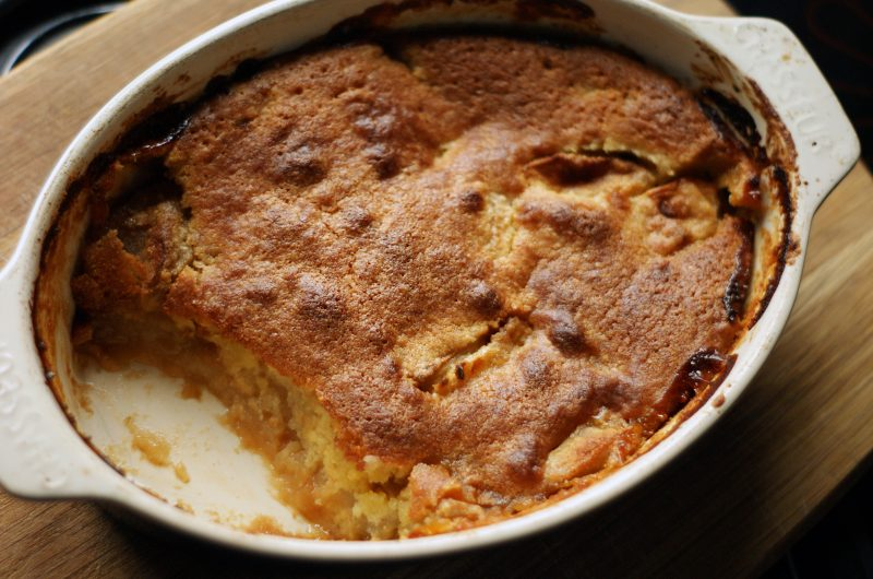 Apple pudding with sponge topping